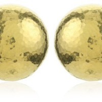 "GURHAN ""Dome"" Round High Karat Gold Button Clip-Post Earrings"