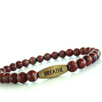 Breathe Mala Bracelet Yoga Jewelry Red Jasper Beaded Stretch Spiritual Unique Gift For Her Under 20 Item Z88