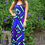 French Kiss Maxi Dress: Blue/Multi | Hope's