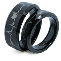 Matching Black Comfort Fit Tungsten Carbide Rings with Laser Forever Love Design 8mm (Size 7-14) His & 6mm (Size 4.5-8) Hers Set Aniversary/engagement/wedding Bands