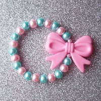 Pastel Pearls and Pink Bow Charm Stretch Bracelet from On Secret Wings