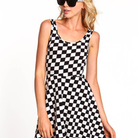 Checkered Skater Dress