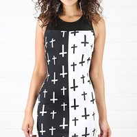 Black White Scuba Cross Print Dress and Shop Dresses at MakeMeChic.com