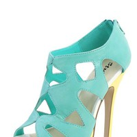 Styluxe Level Mint Two Tone Cut Out Platform Heels and Shop Shoes at MakeMeChic.com