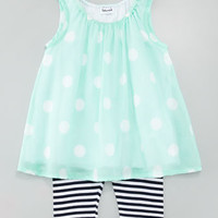 Pool Party Polka-Dot Tunic & Striped Legging Set, Mint