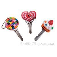 Fun Key Covers Set Of 3 - Cupcake, Heart & Prism