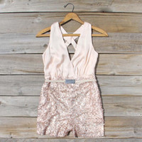 Crystal Lagoon Sequin Romper, Sweet Women's Bohemian Clothing