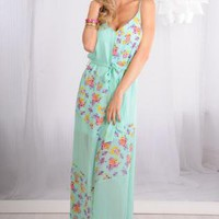 Mint Floral Print Sheer Chiffon Maxi Dress with V-Neckline
