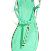 City Classified Born Aqua and Gold Thong Sandals