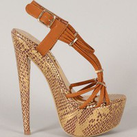 Focus-2 Snake Strappy Open Toe Sandal