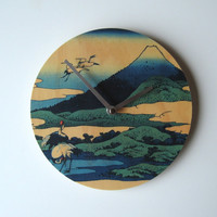 Objectify Cranes Nearby Mount Fuji Wall Clock by ObjectifyHomeware