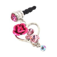 For Apple iPhone 4S 4 Galaxy S Cell Phones & MP3s Silver Heart & Rose Pink Gems Universal 3.5mm Headphone Plug Charm:Amazon:Cell Phones & Accessories