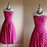 1950s Dress - Vintage 50s Dress - Hot Pink Polka Dots Strapless Bombshell XS S - Fit to be Tied