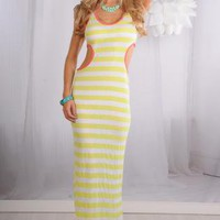 Yellow Striped Maxi Dress with Cutout Neon Trim Detail