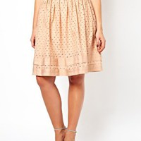 ASOS CURVE Midi Skirt In Cotton Cutwork at asos.com