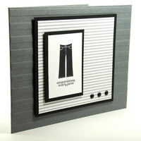 Masculine Handcrafted Graduation Card Black, Grey And White