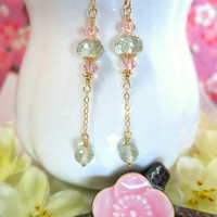 Green and pink gold drop earrings, pink and mint green earrings, boho chic green earrigs