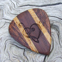Handmade Laser Engraved Premium Wood Guitar Pick - 2-Sided Design - 3 Exotic Woods