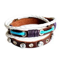 Leather wrist bracelet with leather ,alloy ,diamond ,Wax rope ,cuff bracelet women cuff bracelet men bracelet friendship gift bracelet d-363