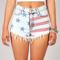 Flag Stamp High Waist Shorts | Denim Shorts at Pink Ice