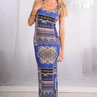 Blue Sleeveless Maxi Dress with All Over Print & Racerback