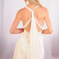 Cream Chiffon Dress with Drape Open Back Detail
