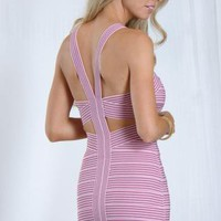 Pink Striped Bodycon Bandage Dress with Cutout Detail