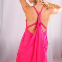 Hot Pink Chiffon Dress with Drape Open Back Detail