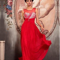 [134.39] In Stock Gorgeous A-Line Illusion High Natural Waist Red Long Formal Wear Dress With Beadings and Hot Drilling - Dressilyme.com