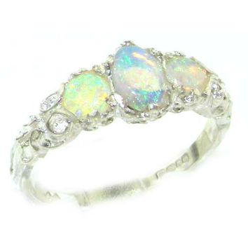 Ladies Solid White Gold Natural Fiery Opal English Victorian Trilogy Ring - Size 12 - Finger Sizes 5 to 12 Available