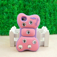 Minnie Bow 3D Silicon e Soft Cover Back Case for  iPhone 4 4G 4S Pink ST54