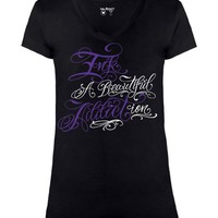 Beautiful Addiction Deep V-Neck Tee
