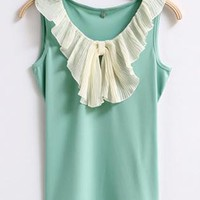 Flouncing Detail Sleeveless Shirt