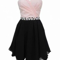 Pink and Black Strapless Dress with Jewel Embellishment