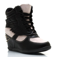 spiked-contrast-wing-wedge-sneakers BLACK GOLD SILVER - GoJane.com