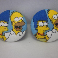The Simpsons Button Earrings, Homer and Marge Fabric Covered Button Earrings