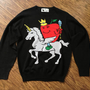Apple with Crown & Scepter Riding a Pegasus/Unicorn Hybrid Sweater - FREE SHIP