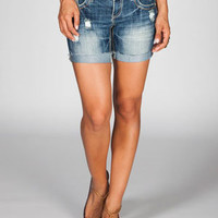 ALMOST FAMOUS Roll Cuff Womens Mid Length Denim Shorts