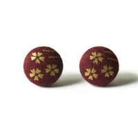Gold Flowers on Dark Red Maroon Fabric Covered Button Earrings