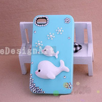 dolphin iphone 5 case/unique iphone 4s case/cute iphone 4 cass - handmade iphone 4 case
