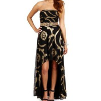 Haley- BlackGold Strapless Hi Lo Dress