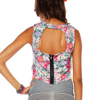 Papaya Clothing Online :: FLORAL ZIPPER BACK CROP TOP