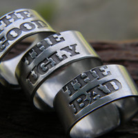 the good the bad the ugly 3 rings for daddy's westerns movies lover 3/8 inch wrapped  ring