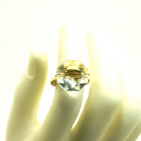 Huge Chandelier Crystal Prism Ring Gold Wire Wrapped Statement Ring - Size 7 1/2