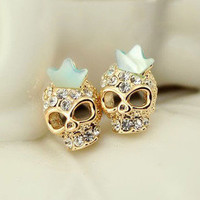 Diamond crown skull earrings