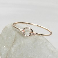 Gold Stacking Ring Handmade, Gold Thin Ring, Gold Circle Ring