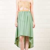 Mint Cut Out High Low Maxi Dress and Shop Dresses at MakeMeChic.com