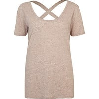 Beige cross back t-shirt
