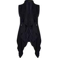 Navy lightweight waterfall gilet