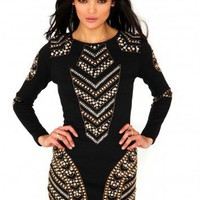 Missguided - Premium Embellished Mini Dress In Black